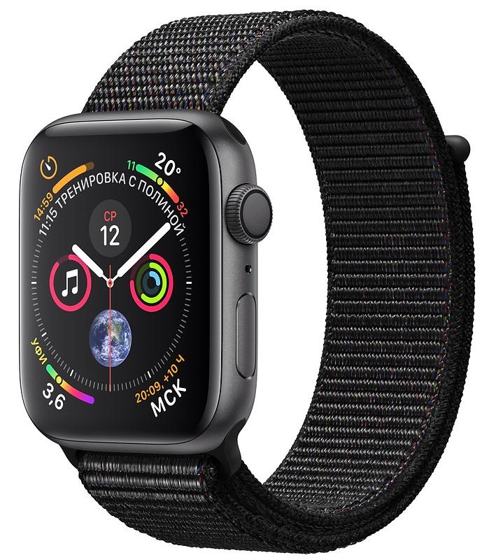 Умные часы Apple Watch Series 4, 40 мм, корпус из алюминия цвета «серый космос», спортивный браслет черного