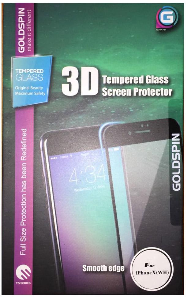 Защитное стекло Goldspin 3D Glass для Apple iPhone X белая рамка