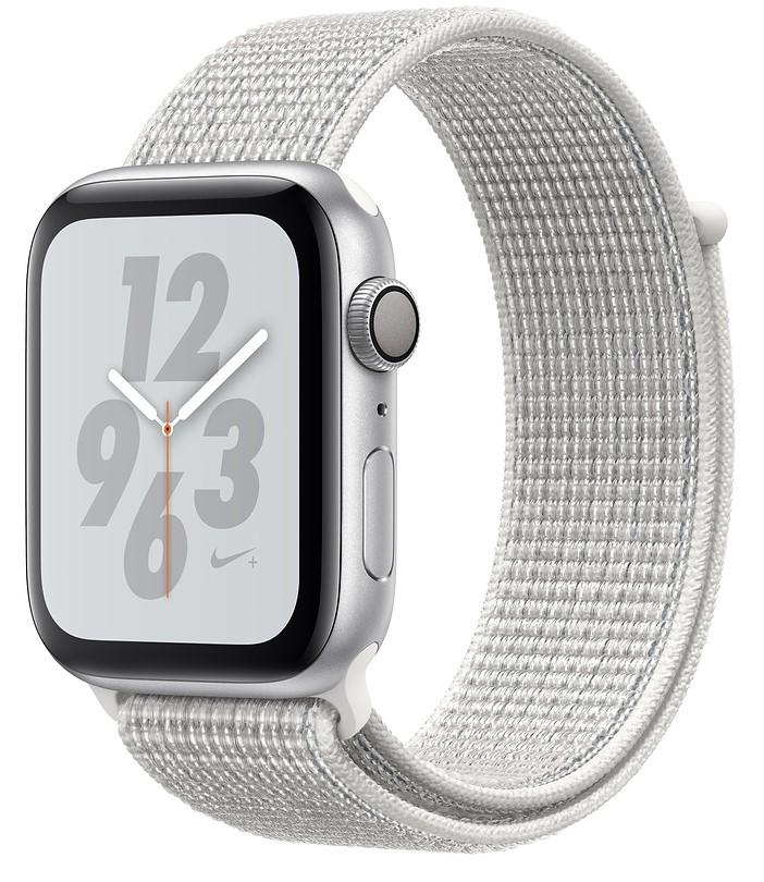 Умные часы Apple Watch Nike+ Series 4 40 мм, корпус из серебристого алюминия, спортивный браслет Nike цвета «снежная вершина»