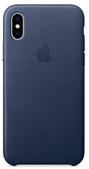 Клип-кейс Apple Leather Case для iPhone X (темно-синий)