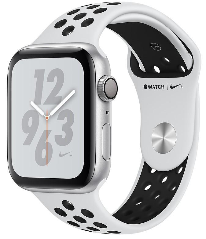 Умные часы Apple Watch Nike+ Series 4, 44 мм, корпус из серебристого алюминия, спортивный ремешок Nike цвета чистая платина/черный