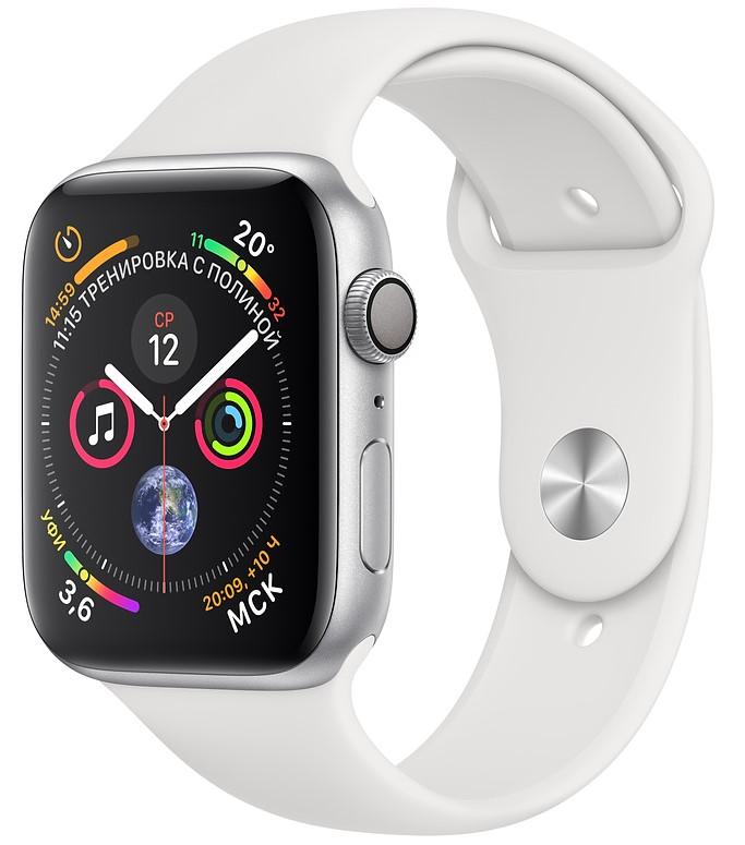 Умные часы Apple Watch Series 4, 40 мм, корпус из серебристого алюминия, спортивный ремешок белого цвета