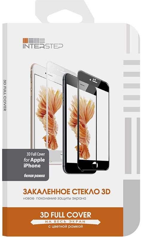 Защитное стекло InterStep 3D Glass для Apple iPhone 7/8 Plus белая рамка