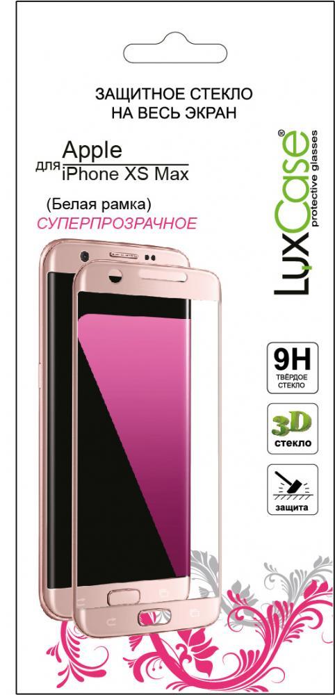 Защитное стекло Luxcase 3D для Apple iPhone XS Max белая рамка (глянцевое)
