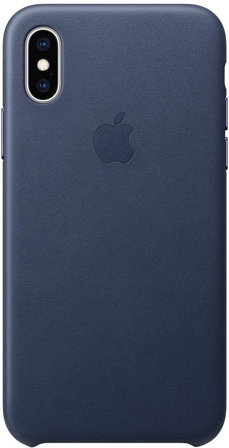 Клип-кейс Apple Leather для iPhone XS (темно-синий)