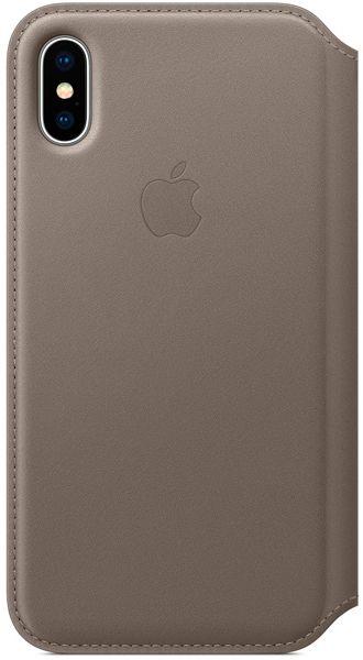 Клип-кейс Apple Leather Folio для iPhone X (платиново-серый)