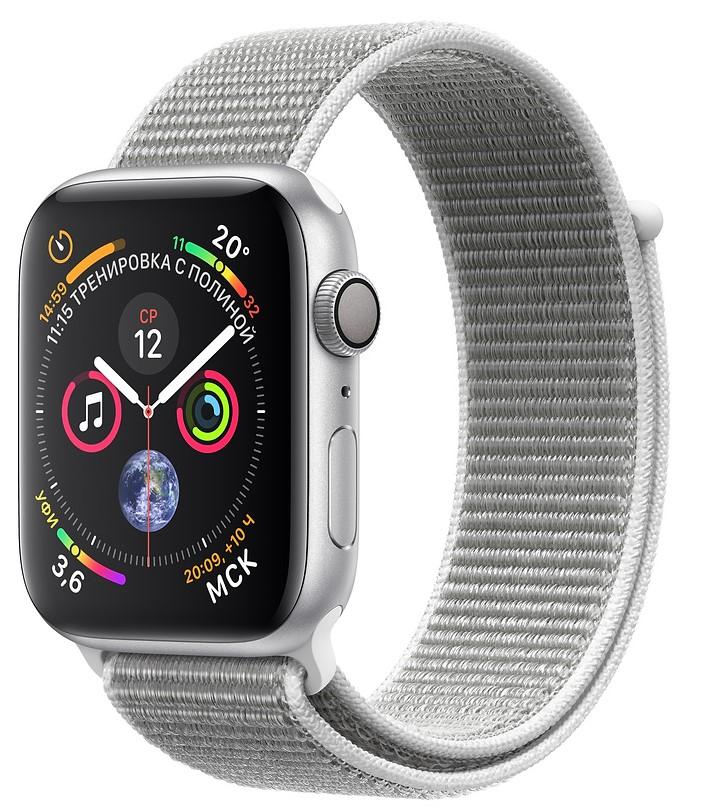 Умные часы Apple Watch Series 4, 40 мм, корпус из серебристого алюминия, спортивный браслет цвета «белая ракушка»