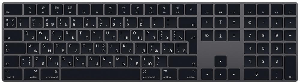 Клавиатура Apple Magic Keyboard with Numeric Keypad (MRMH2RS/A) Space Gray Bluetooth
