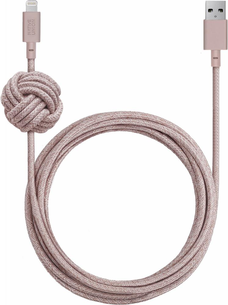 Кабель Native Union Night Cable USB - Apple 8pin 3м (розовый)