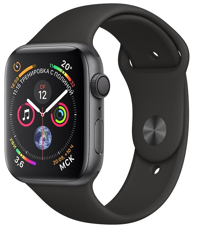 Умные часы Apple Watch Series 4, 44 мм, корпус из алюминия цвета «серый космос», спортивный ремешок черного