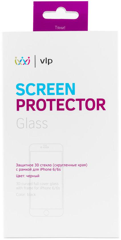 Защитное стекло VLP 3D для iPhone 6/6S черная рамка